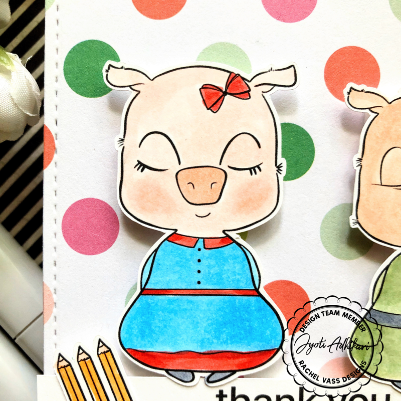 girl piglet from the digital stamp by Rachel Vass colored in copic marker