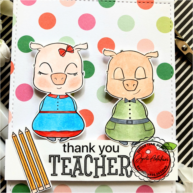 polka dot pattern paper and thank you teacher card.