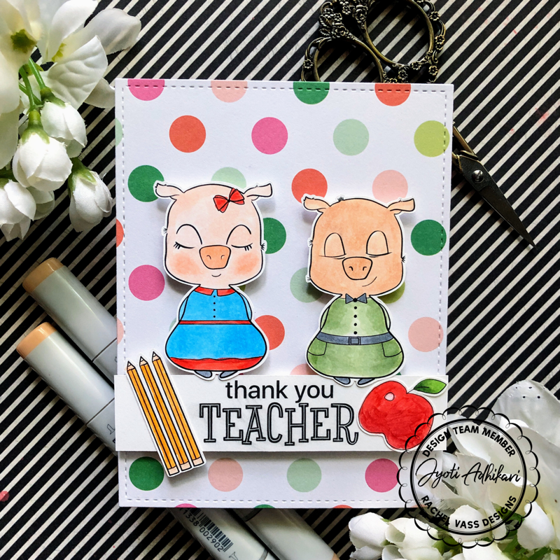 This is a handmade card made using Rachel Vass digital stamp called Piglets in school. This stamp is printed and colored in copic markers