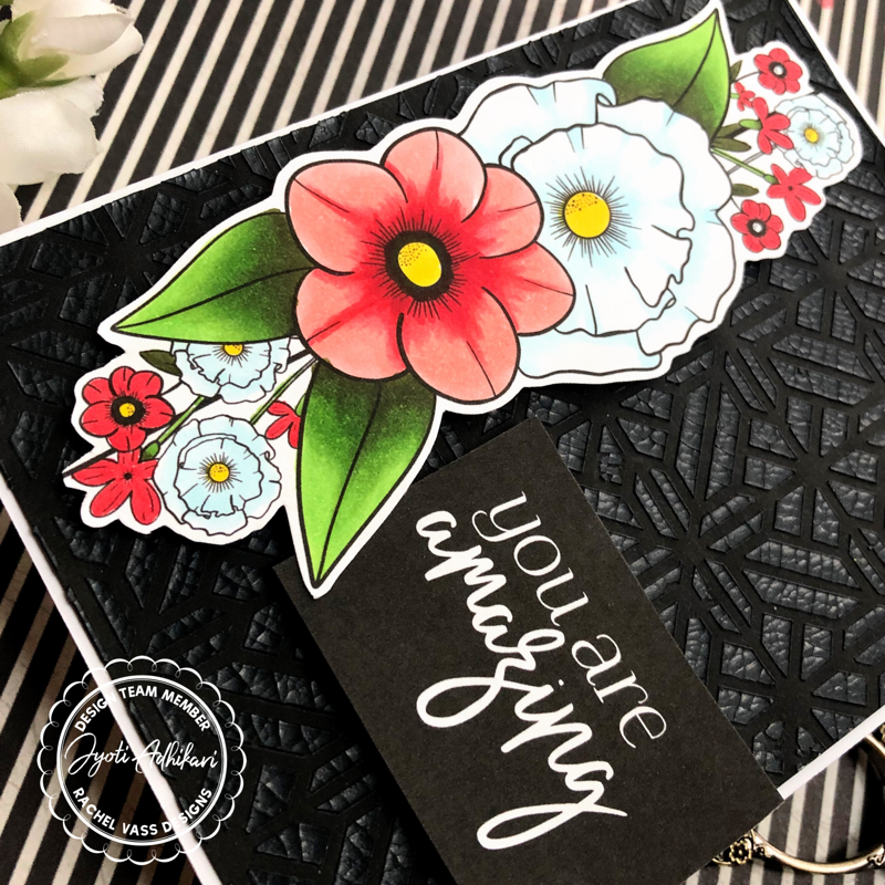 digital stamp sentiments printed in white on black