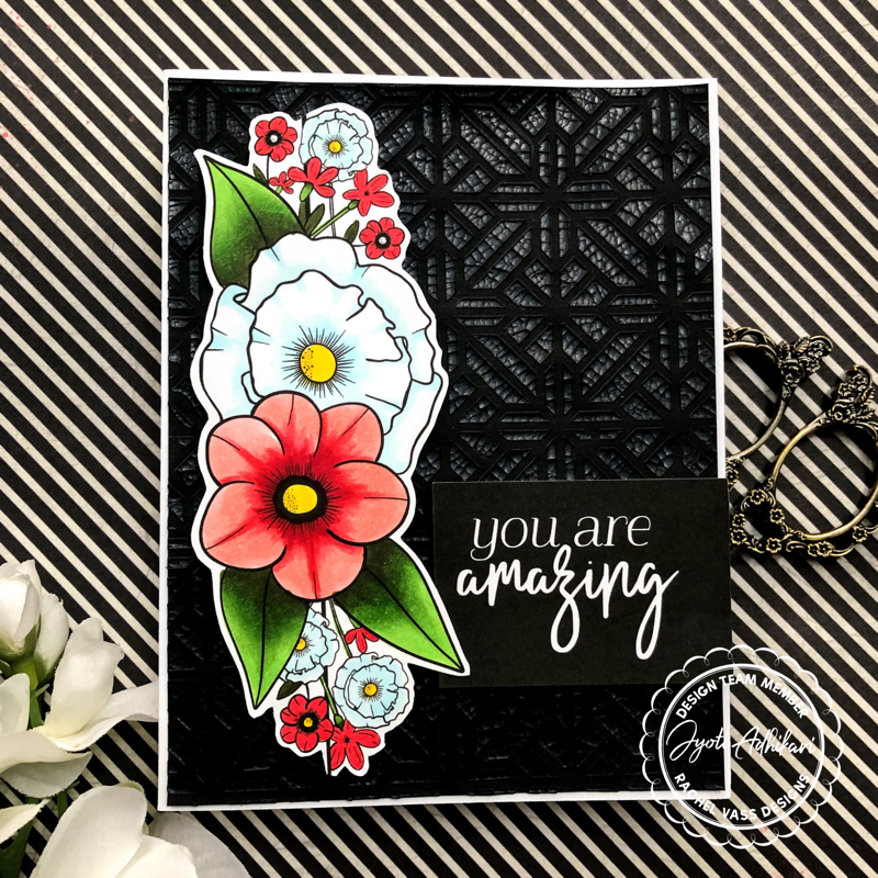 My first card using the rachel vass Glorious geometry stamp set