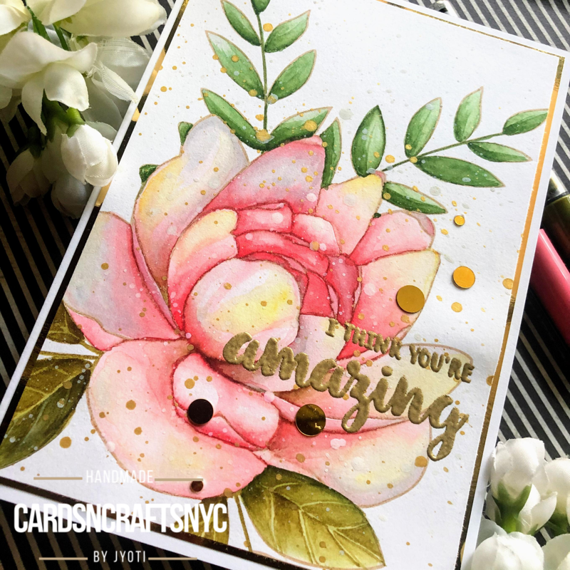 watercolor floral card using karin markers