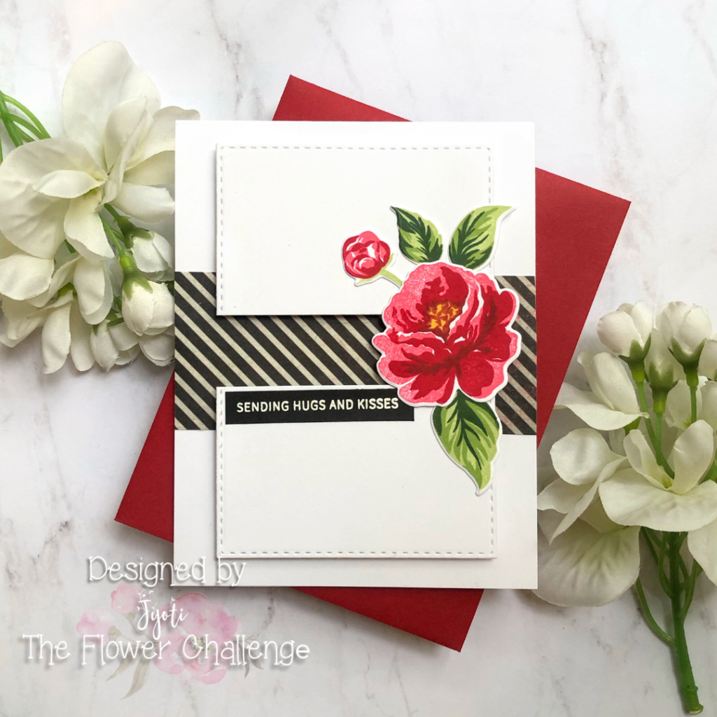 Clean and Simple sending hugs and kisses card for The Flower Challenge